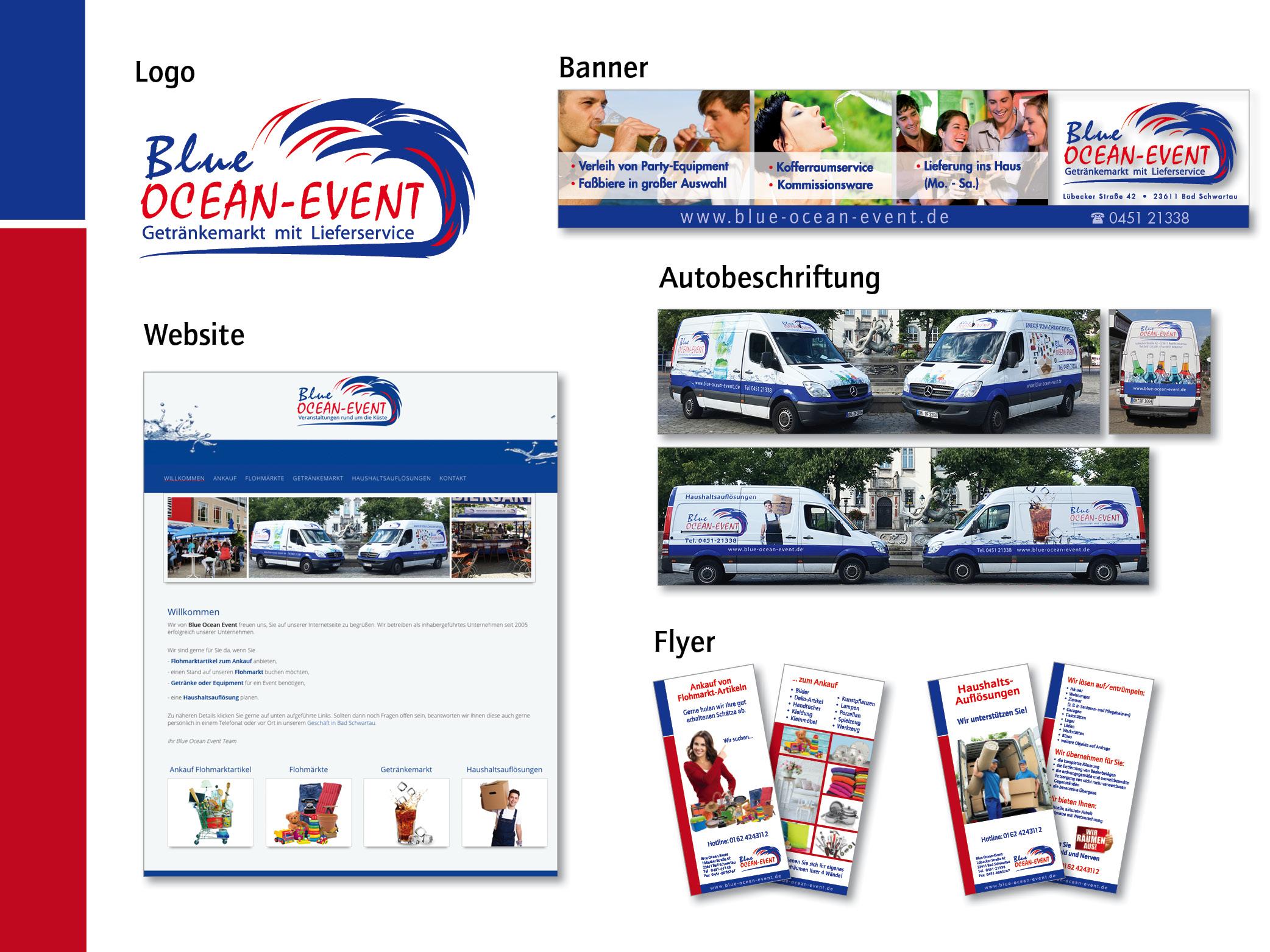 Logoentwicklung, Fahrzeugbeschriftung, Flyer